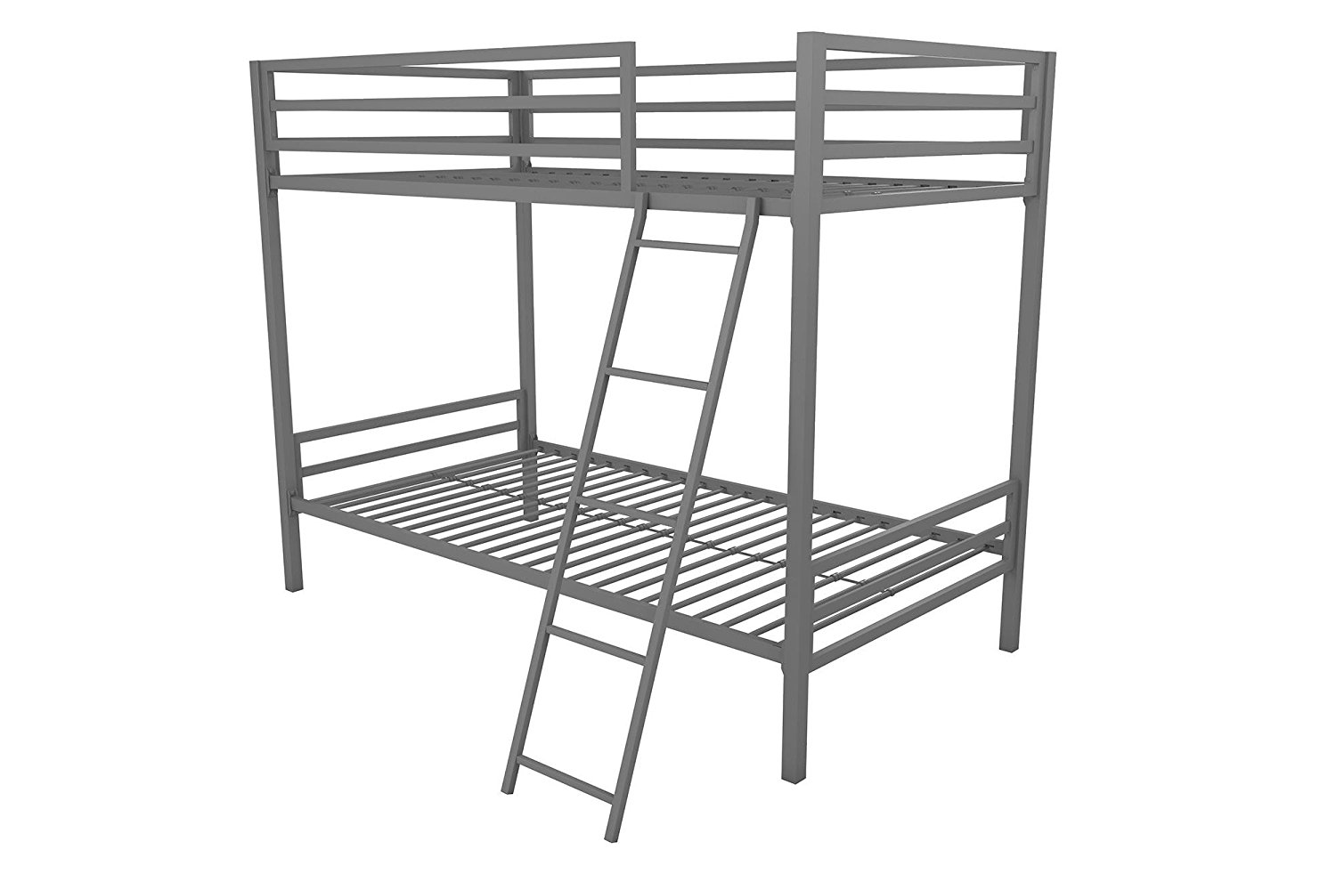 Novogratz Maxwell Twin/Twin Metal Bunk Bed, Sturdy Metal Frame with Ladder and Safety Rails, Grey