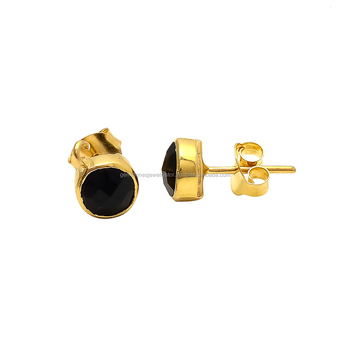 9db9ddcf0 Tiny Round Black Onyx Stud Earring Gold Plated Earring - Buy Small ...