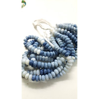 Blue opal smooth rondelles loose beads