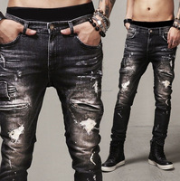 Hot 2017 Men`s Custom Stretch Skinny Jeans ripped hot
