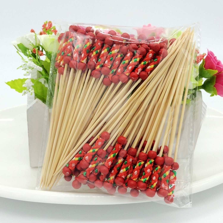 Kangkang@ 100 PCS Disposable Bamboo Artistic Style Fruit Snack Dessert Cocktail Fork Set Party Home Household Decor Tableware