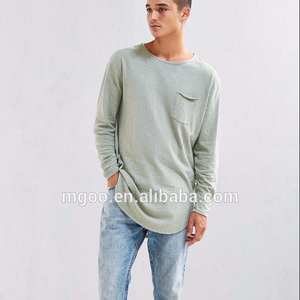 Feathers Nubby Linen Curved Hem Long Sleeve Tee 100 Cotton Casual Pocket Tall T Shirt Wholesales