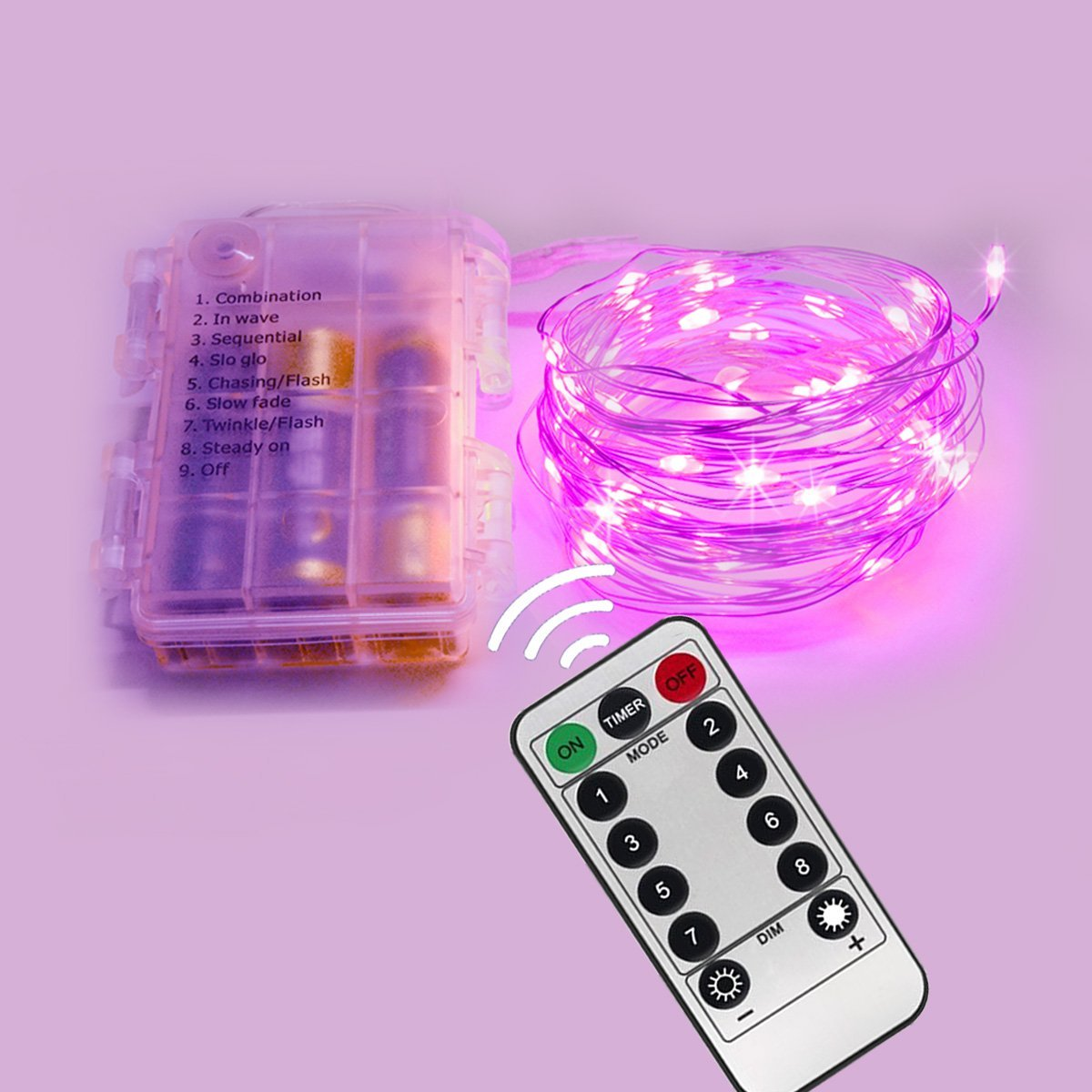 Homeleo 5M 50LEDS Battery Operated Remote Contol LED String Lights Flexible Copper Wire Light LED Starry Lights Fairy Lights AA Battery Powered Tiny Decorative Lights(50 Leds, Pink, Waterproof)