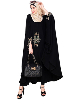 Black Irani Women Muslim Kaftan Dress Embroidered Dubai Kaftan