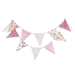 Double Sided 3.7M/12Feet Floral Bunting Banner Pennant Garland Large Size Triangle Flag Vintage Cloth Shabby Chic Decoration for Birthday Parties, Kitchen, Bedroom (Pastoral Floral)