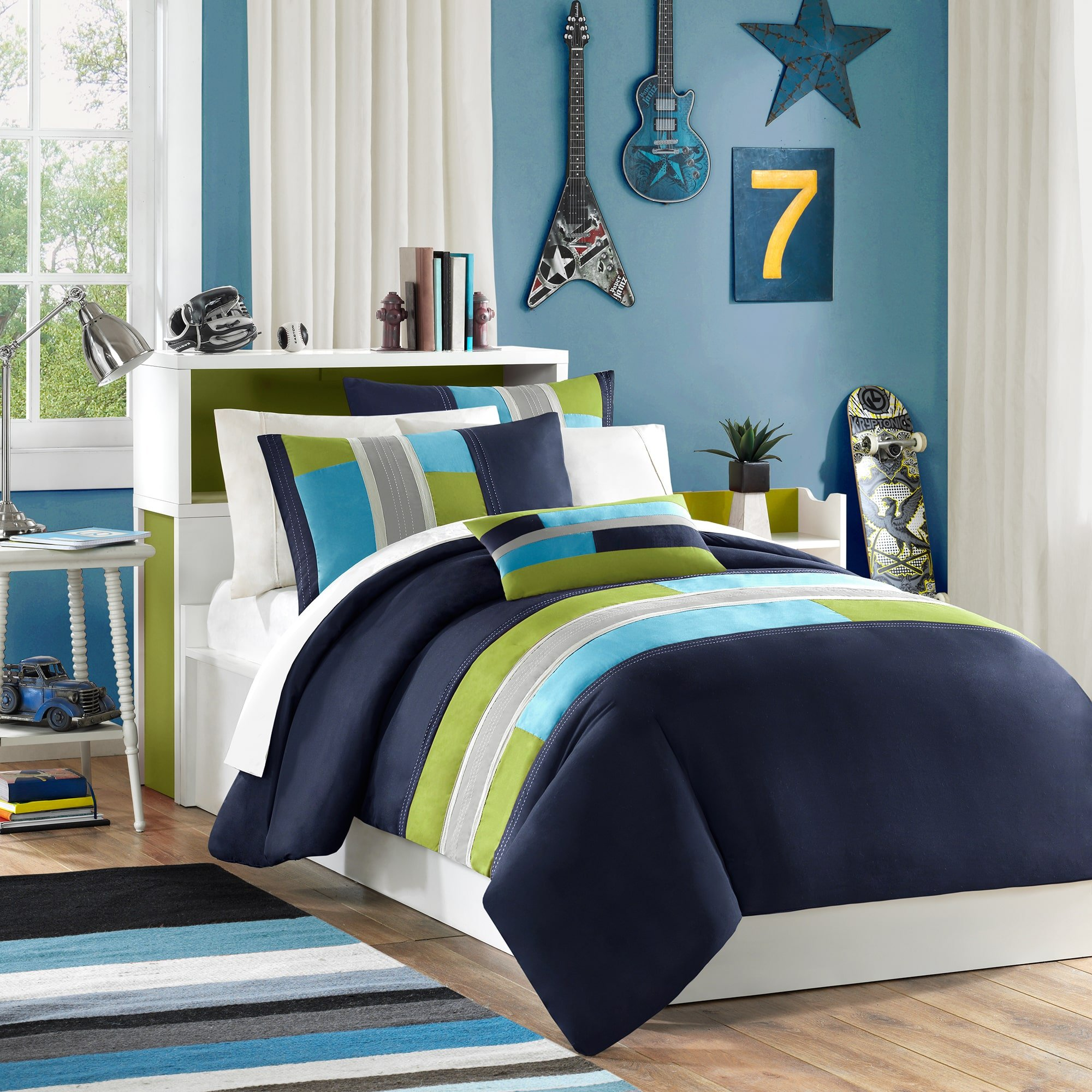 3 Piece Girls Navy Blue Lime Green Maverick Duvet Cover Twin Twin Xl Set, Sky Blue Grey Color Abstract Color Block Pattern Solid Color Kids Bedding, Contemporary Geometric Themed Teen, Polyester