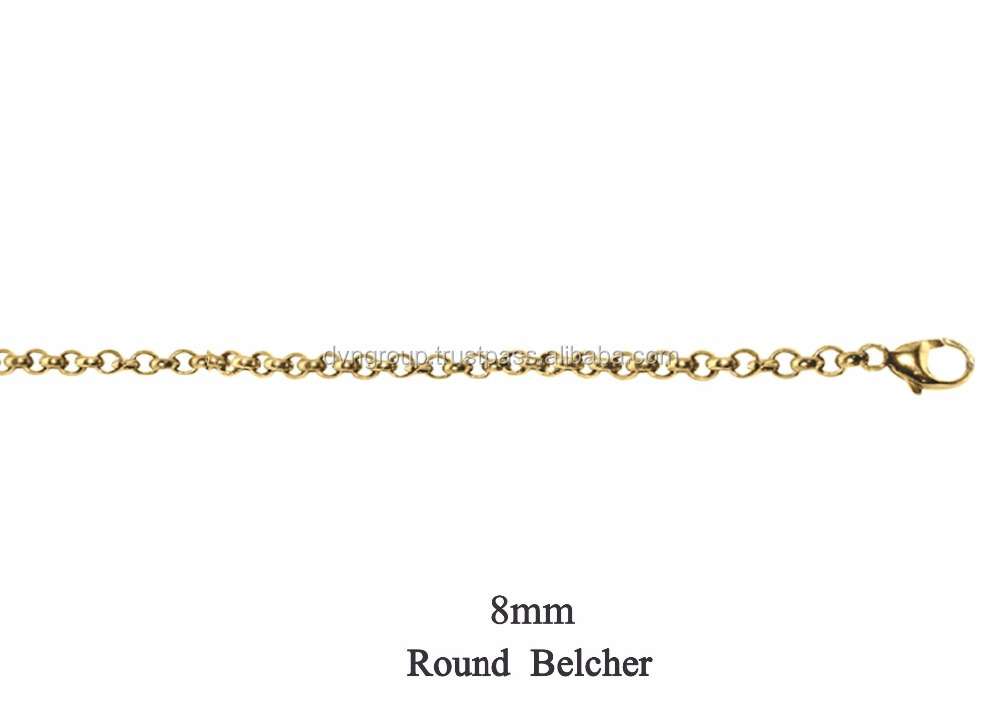 14 Kt Gold Plated 8 MM Round Belcher Chain