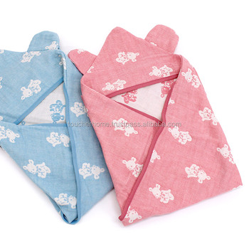 4 layer gauze swaddling clothes with hood. made in Japan cotton 100% Hooded Baby swaddle blanket