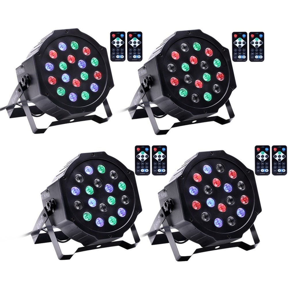 U`King Par Lights with 18 LEDs RGB by IR Remote and DMX Control for Stage Lighting (4PCS)