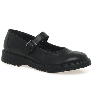 Wholesale low price black leather girls school shoes