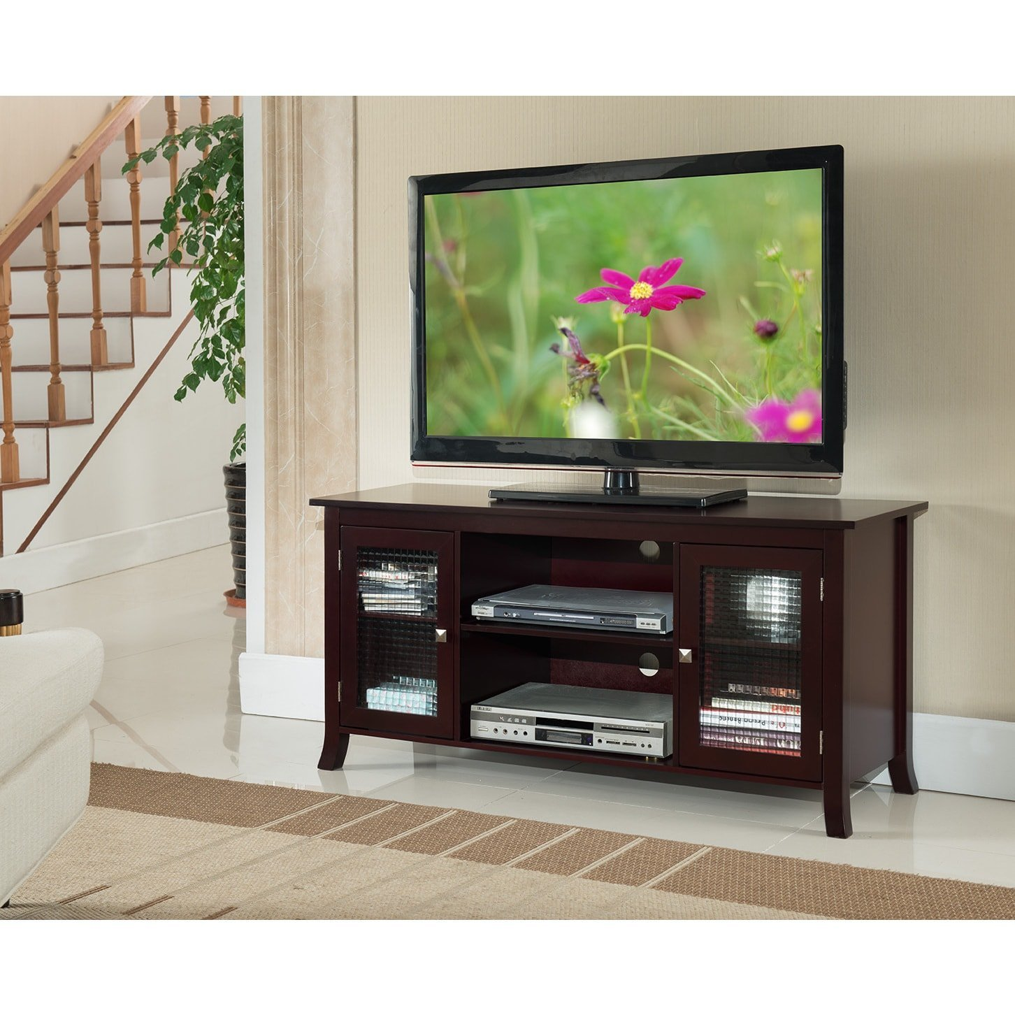 K and B Furniture Co Inc E1051 Cherry Wood/Veneer/Glass TV Stand