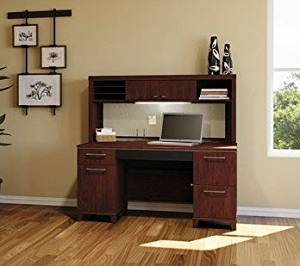 "Bush 60"" Computer Desk W/Hutch 60""W X 28 5/8""D X 57 1/2""H Durable 1"" Thick Work Surface Features Hutch, Built In Usb Hub & Full Extension Ball-Bearing Sliding Drawers - Harvest Cherry"