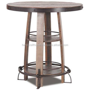 Vintage Indian Iron Metal And Wood High Bar Table With Round Top Tables Stools Product On
