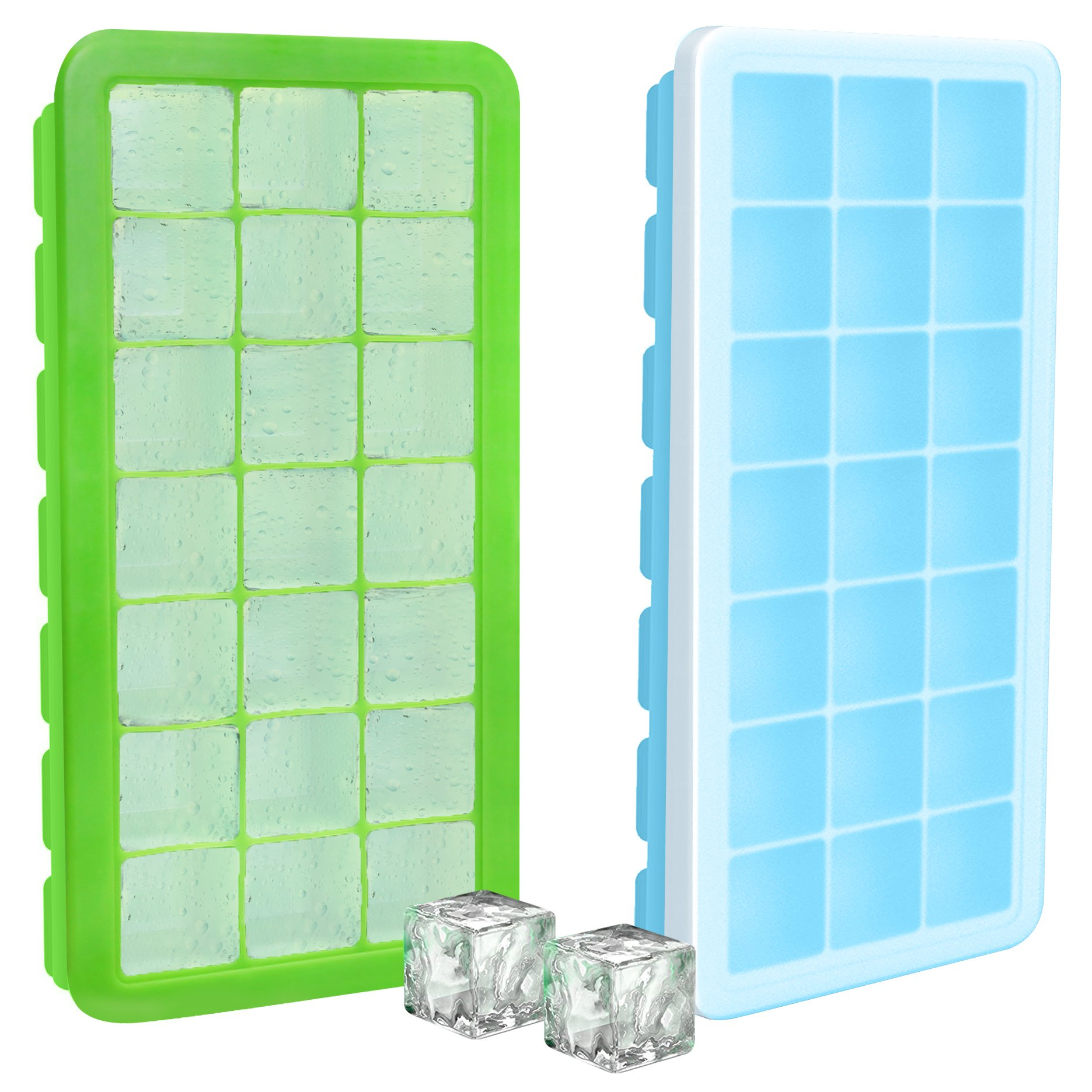 Utopia Home Food Grade Green & Blue Silicone Ice Cube Tray Set - Set of 2 - Total of 42 Ice Cube Molds