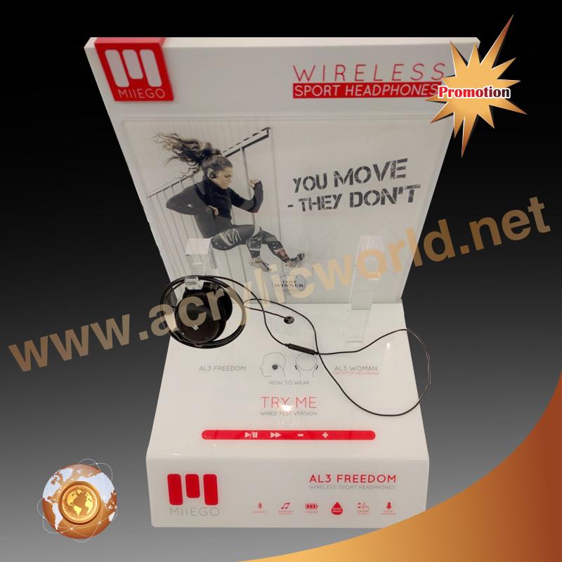 Countertop Edge-lit LED Acrylic Earphone Display