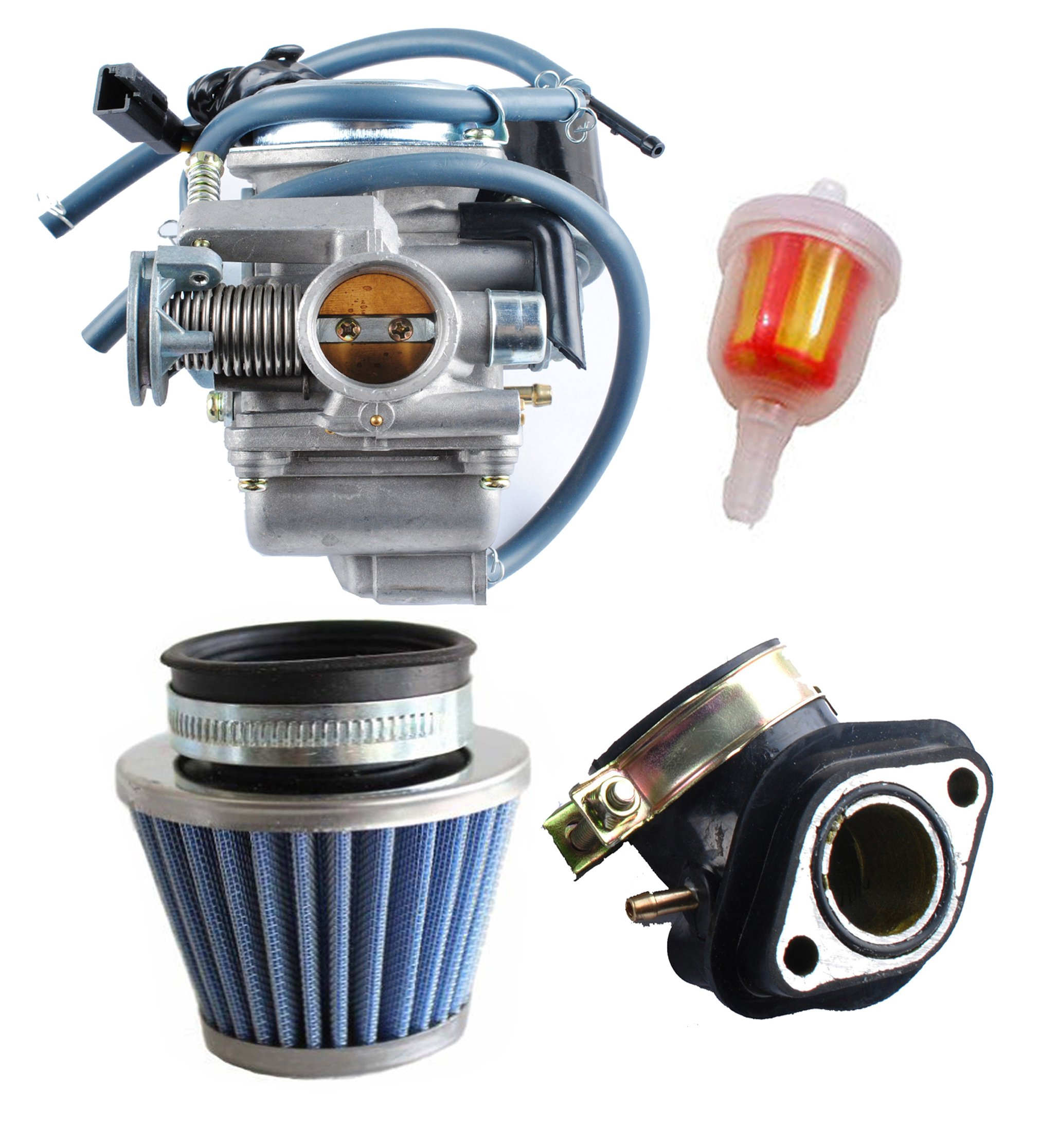 Podoy 150cc Carburetor GY6 26mm Carb with Air Filter Intake Manifold Fuel  Filter Kit for Roketa