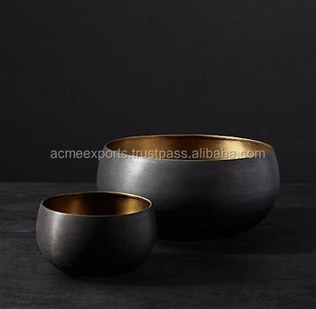Table Top Set of 2 Pcs Metal Bowl With Black Finish