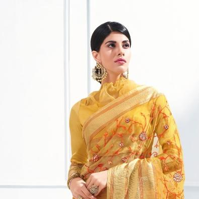 Shangrila Florenza Organza Ready-To-Wear Usura Del Partito Saree