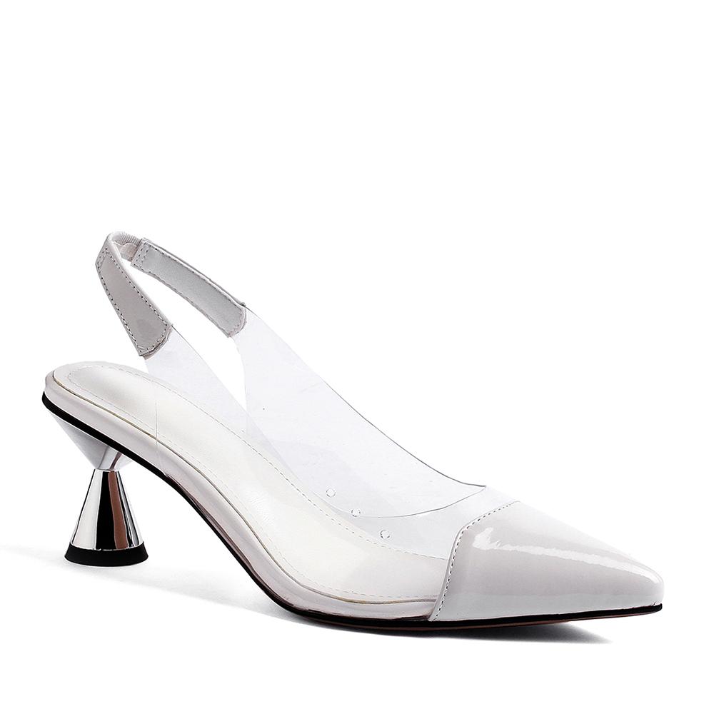 aa8f33cb WETKISS nueva llegada de patente de cuero blanco zapatos de tacón alto  tacones zapatos de PVC