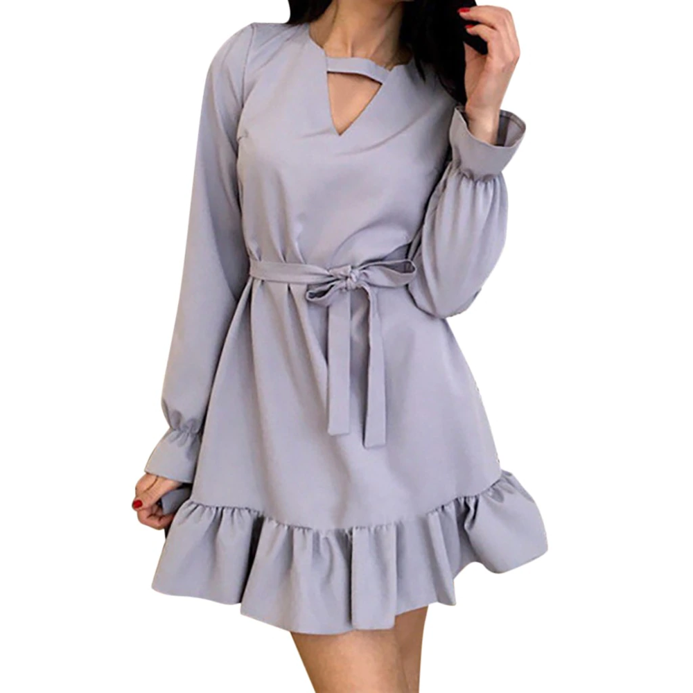 Women's Floral System Band Long Sleeve High Waist V-neck Solid Color MINI Dress Elegant Solid Ladies Dresses ropa mujer