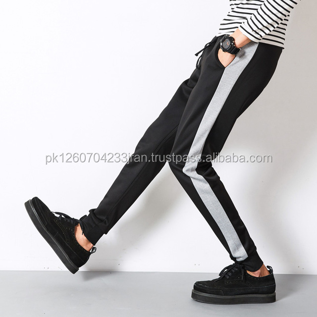 High Fashion Mens Skinny Track Pants Black / Grey Side strip style suit pants Solid Hip-Hop Street casual pants