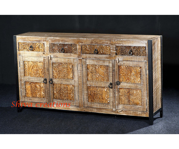 Indian Carved Rough Mango Wood Furniture 4 Door Drawer With Iron Ing