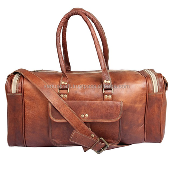 Genuine Leather Duffel Bag Gym Sports Stylish Weekender Unisex Leather  Travel luggage Bag 586bc310bbf7d
