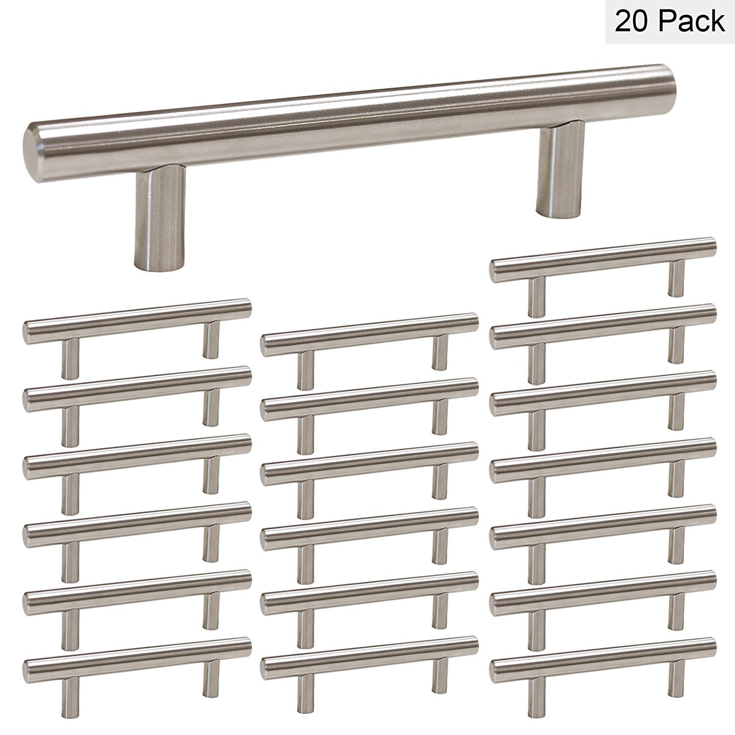 homdiy Kitchen Cabinet Handles Brushed Nickel 3.5in(90mm) Hole Centers HD201SN 20 Pack Stainless Drawer Pulls Kitchen Pulls for Cabinets Kitchen Door Handles Satin Nickel Cabinet Pulls