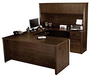 "Bestar U Shaped Desk W/Hutch Executive Computer Desk 71.3""L X 29.9""W X 29.7""H, Hutch 71""L X 12.5""W X 35.8""H, Credenza 71.3""L X 19.9""W X 29.7""H, Bridge 46.6""L X 23.3""W X 29.7""H - Chocolate"