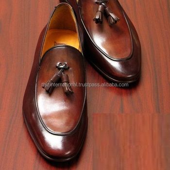 6b0eb486be7 Handmade Men Brown Leather Tassels Shoes Moccasins