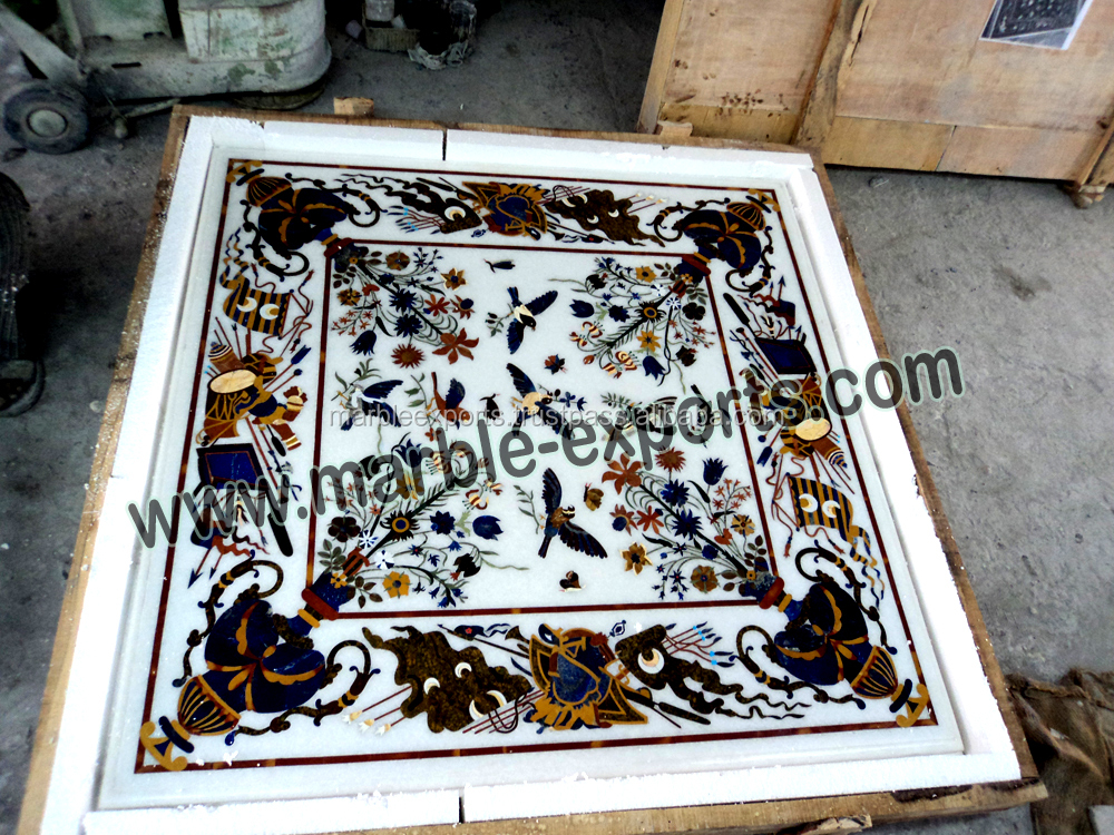 square White marble inlay table top, square pietre dure dining table top
