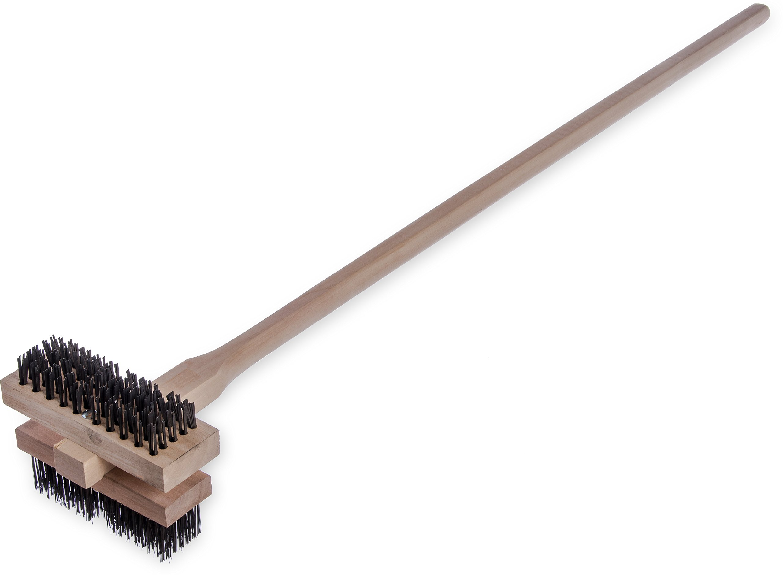 "Carlisle 4029400 Carbon Steel Double Broiler King Brush with Hardwood Handle, 7-3/4"" Brush Length, 1-5/8"" Bristle Trim, 48"" Overall Length (Case of 2)"