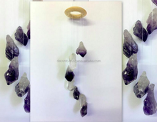 Amethyst and Crystal Point Wind Chimes 7 pieces , Home Decor