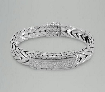 Beautiful Real Diamond Mens Bracelet In 14k White Gold