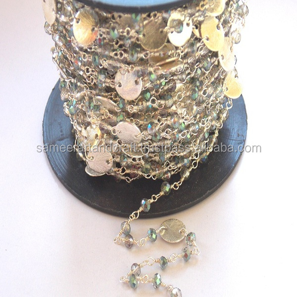 Labradorite Quartz With Coin Gold Plated 3 - 3.5 mm Wire Wrapped Beads Rosary Chain