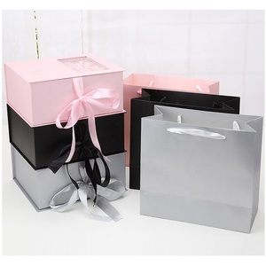 Pink black gray rectangle folding flower magnetic ribbon gift box