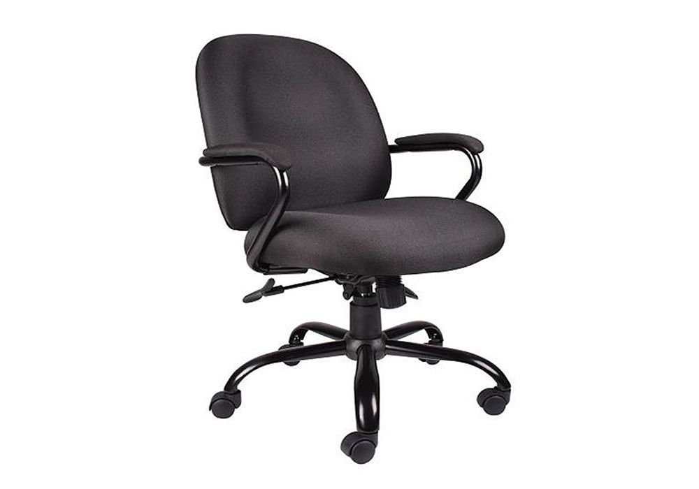 """Heavy Duty Big and Tall Fabric Task Chair Black Crepe Fabric/Black Frame Dimensions: 25""""W x 30""""D x 35-38""""H Seat Dimensions: 20""""Wx19.5""""Dx18.5-21""""H"""