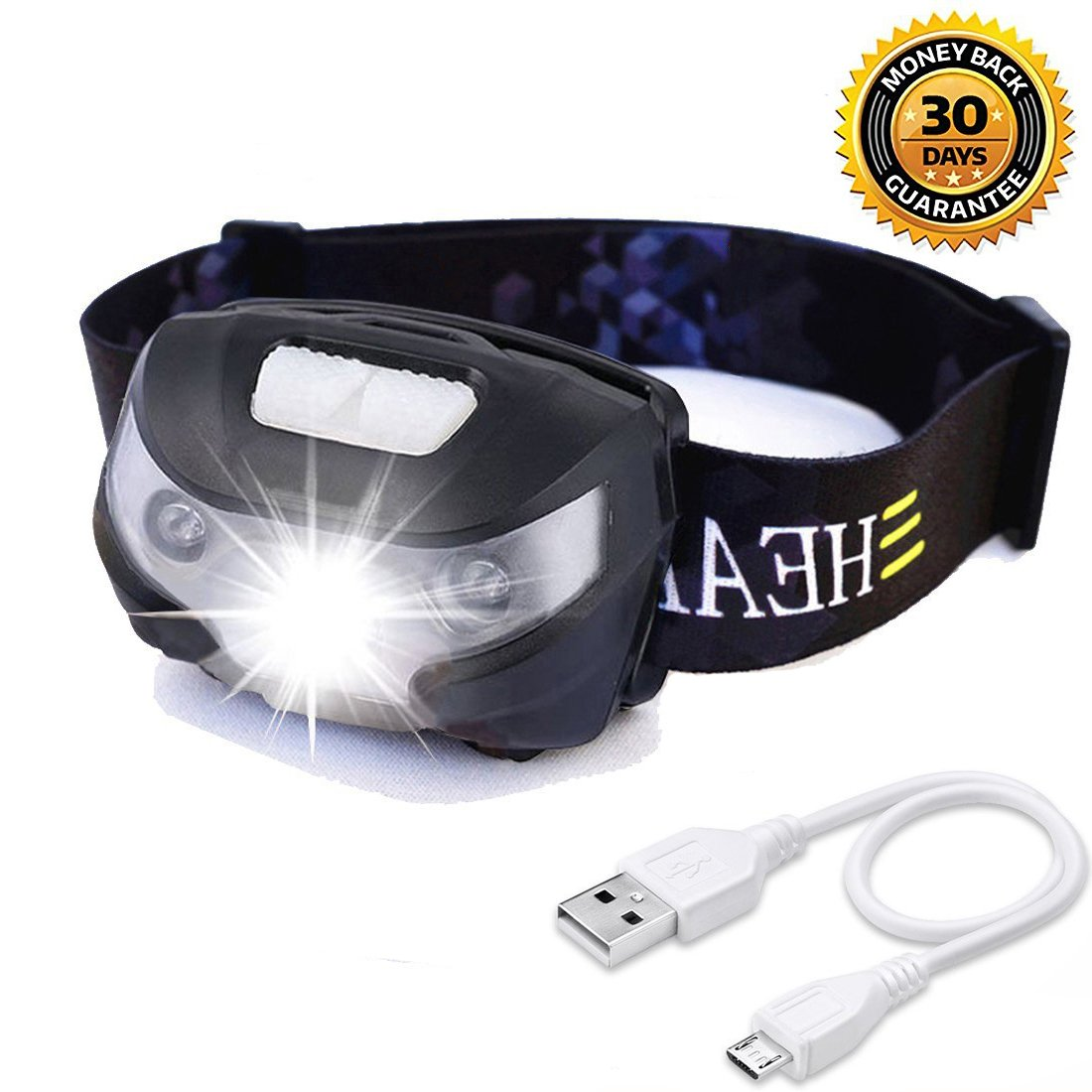 HFAN USB Rechargeable LED Headlamp, Headlight 1X White, 2X Red Super Bright, Waterproof, Lightweight Headlamps with SOS for Running, Walking, Camping, Reading, Hiking, Outdoor Sports etc