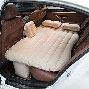 FBS port Car Travel Inflatable Mattress Air Bed Cushion Camping Universal SUV Extended Air Couch with Two Air Pillows and Free Car Inflatable Pump (Beige)