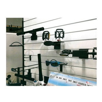 Bicycle steel frame pedal slatwall display rack stand