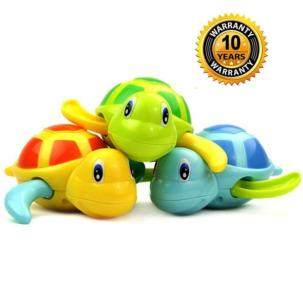 Turtle Bath Toys Tub Pool water Toy Cute Wind Up Animal Bathtub Swimming Fun Toys Set for Kids,Pack of 3 Pieces Random Color