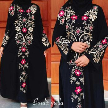 Cheap Black Abaya with Embroidery