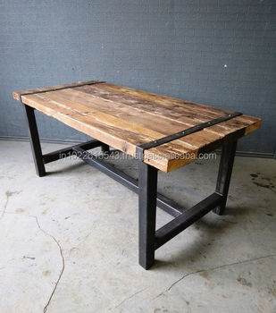 Rail Wood Iron Coffee Table Vintage Rustic Old Square Distressed