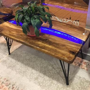 New Indian Design Epoxy Resin Middle Side Led Lighted Mango Tree Decor Table Coffee Wooden Tables Medium Size Office