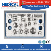 Medium Two Tier Sterilization Box With Medium Tray And Bottom Silicone Mat