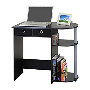 Computer Desk for Small Spaces Home Study Writing Laptop Table Drawers Workstation (Black / Grey / Black)