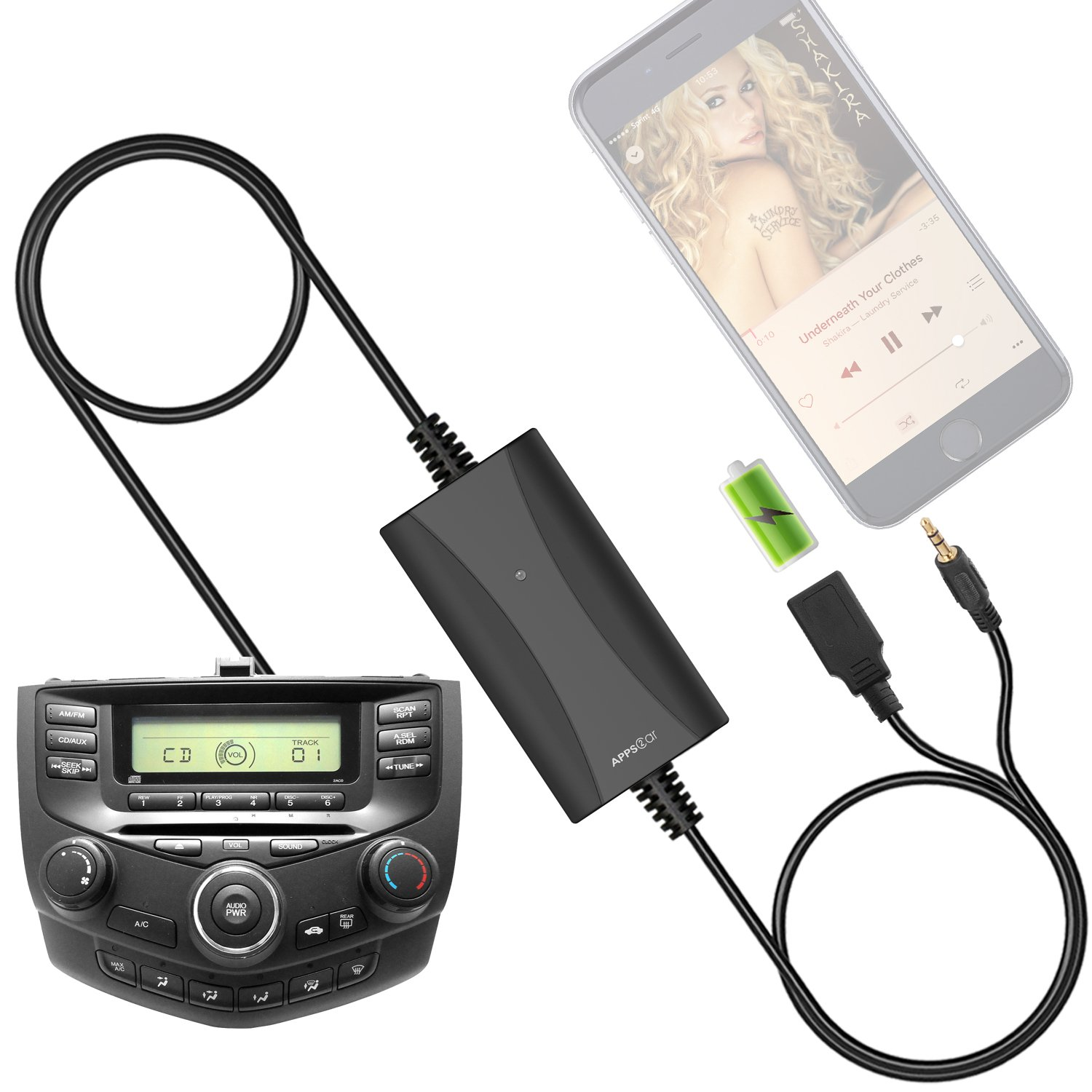 Get Quotations · [New Generation] Car Stereo AUX Input Adapter, Honda  Auxiliary Cable Cord USB Charger