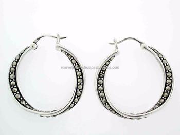 Twist 925 Sterling Silver Marcasite Earring