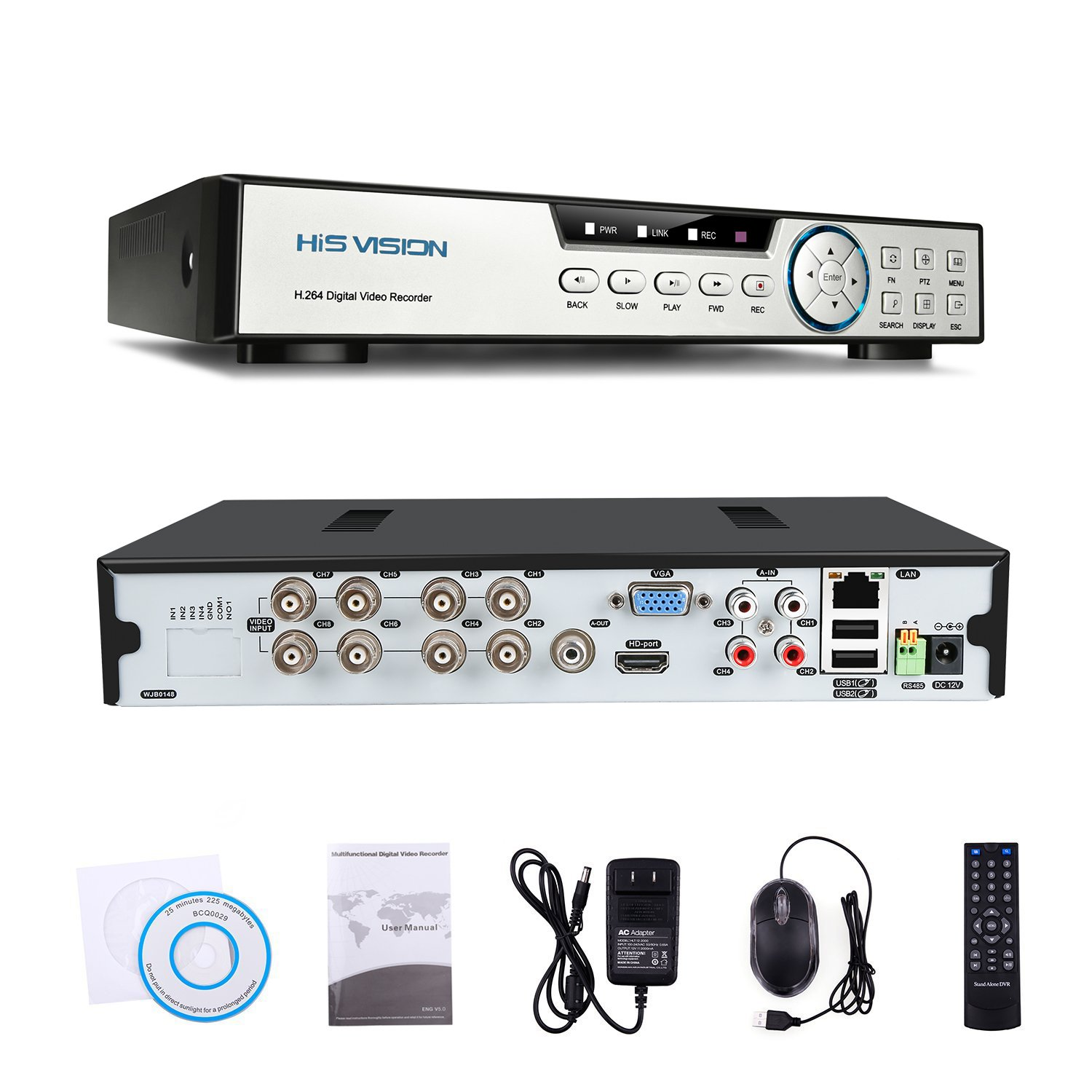 HISVISION 8CH 1080N AHD DVR 5-in-1 Hybrid (1080P NVR+1080NAHD+960HAnalog+TVI+CVI)CCTV 8-channel HDMI QR Code Scan Easy Remote View Email Alerts Home Security Surveillance Camera System(No HDD)