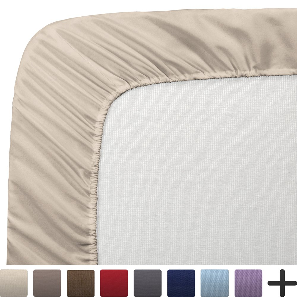 """2 Twin XL Fitted Bed Sheets (2-Pack) - Twin Extra Long, 15"""" Deep Pocket, 39"""" x 80"""", (Twin XL, Sand)"""